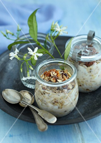 Jars of yoghurt muesli