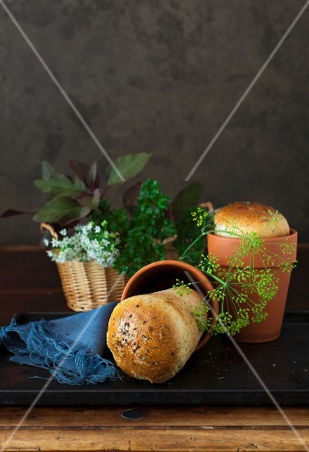 Flowerpot bread with garlic and herbs
