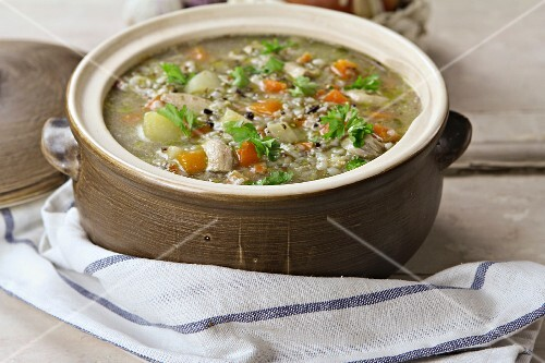 Krupnik (Polish barley soup) with vegetables