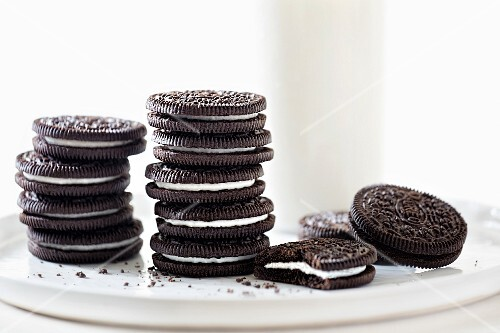 Several Stacked Oreo Cookies