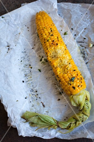 An oven-baked corn cob on a piece of paper with a bite taken out (seen from above)