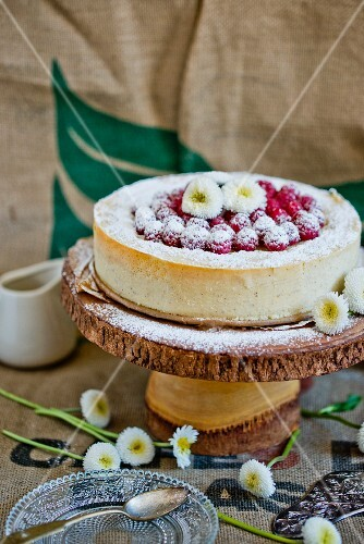 Millet cake with raspberries and bellis
