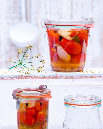 Jars of preserved tomatoes