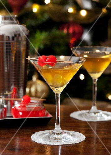 Cocktails served with Maraschino cherries for Christmas