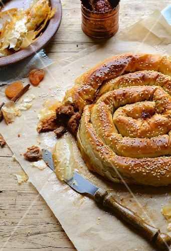 A filo pastry spiral filled with lamb