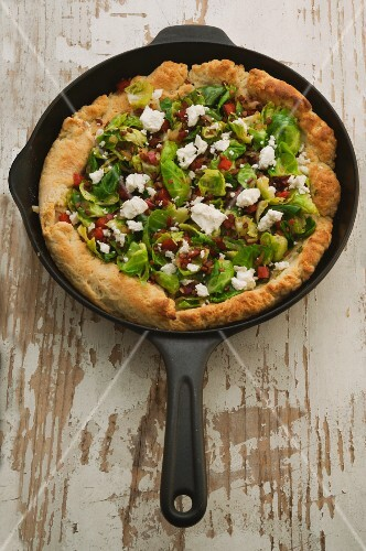 Brussels sprouts and feta cheese pan pizza