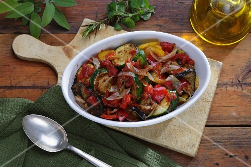 Ratatouille, olive oil and fresh herbs
