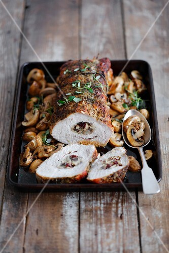 Stuffed pork loin with mushrooms and lingonberries