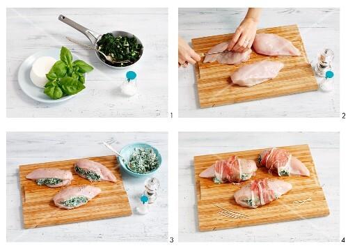 Stuffed chicken breast being prepared
