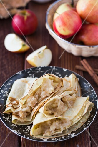 Crepes with homemade apple jam