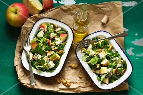 Apple and Roquefort salad with walnuts