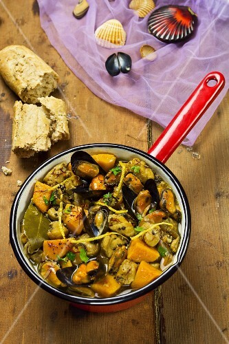 Mussel and fish stew with sweet potatoes and saffron