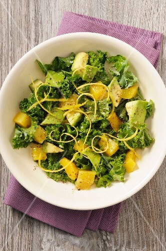 Cabbage salad with mango and avocado