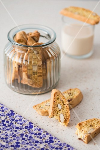 Cantuccini (biscotti di prato) with almonds in a jar