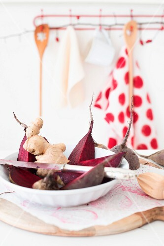 Beetroot and ginger root