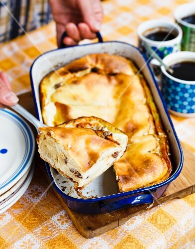 Quark strudel in a baking dish