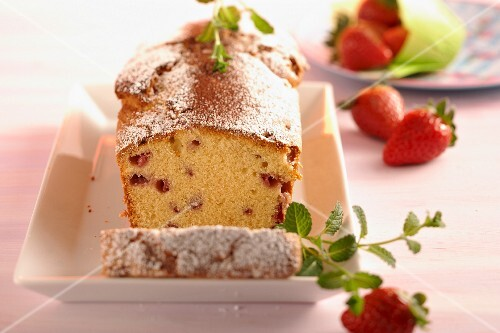A loaf cake with strawberries and marzipan