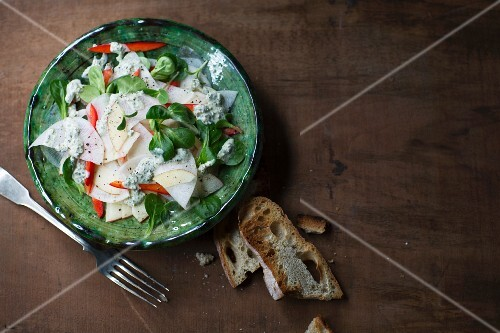 Radish salad with peppers and a herb dressing