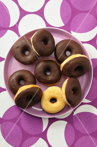 Doughnuts with chocolate glaze (seen from above)