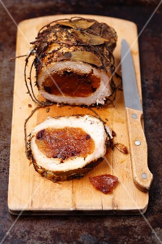 Pork roulade filled with dried apricots and cranberries