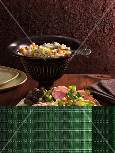 Barley salad with smoked duck breast