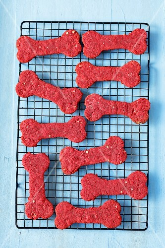 Treats for a dog - bone shape biscuits with beetroot juice, oats and wholemeal flour