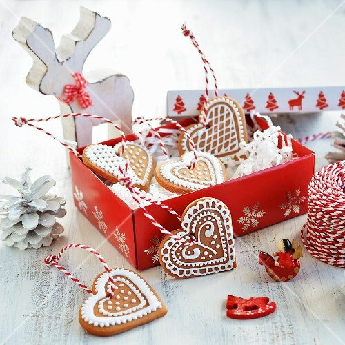 Christmas biscuits decorated with icing in a gift box