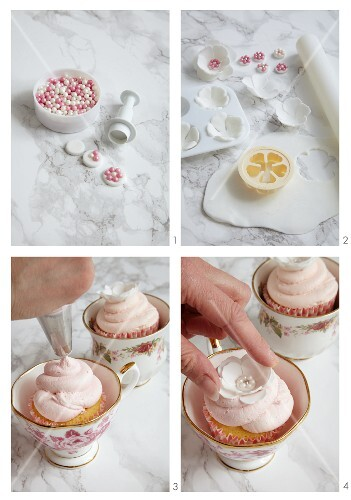 Flower cupcakes being made