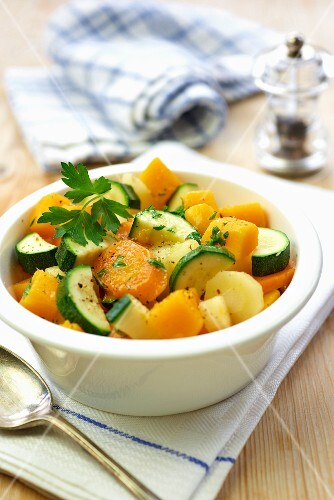 Carrots and courgettes with parsley