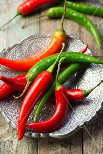 Fresh red and green chilli peppers