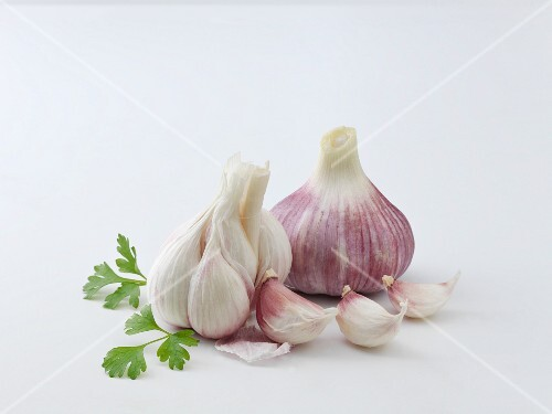 Garlic bulbs and garlic cloves