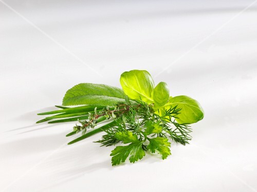 A bunch of herbs on a white surface