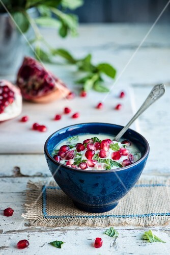 Raita with cucumber, mint and pomegranate seeds (India)