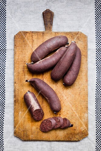 Kaszanka black pudding on a chopping board
