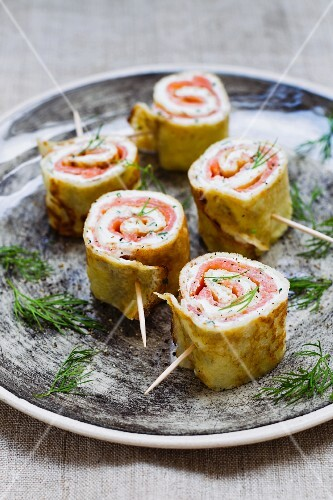 Pancake rolls with smoked salmon and cream cheese