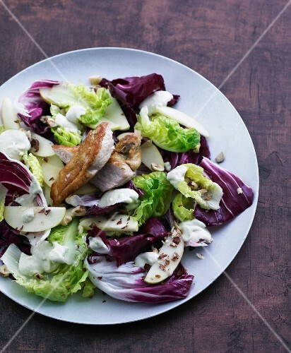 Winter salad with chicken breast and apple