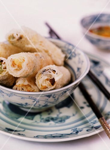 Vietnamese spring rolls with a vegetable, prawn and mushroom filling