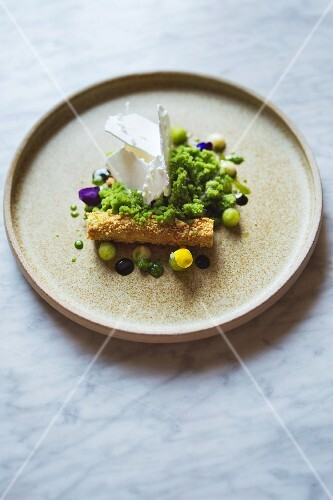 Sheep's yoghurt, apple and dill for the 'Typing Room' restaurant, London, England