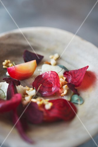 Beetroot with fermented apples and pine nuts from the 'Paradise Garage' restaurant, London, England
