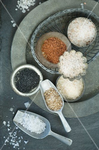 Various types of salt (seen from above)