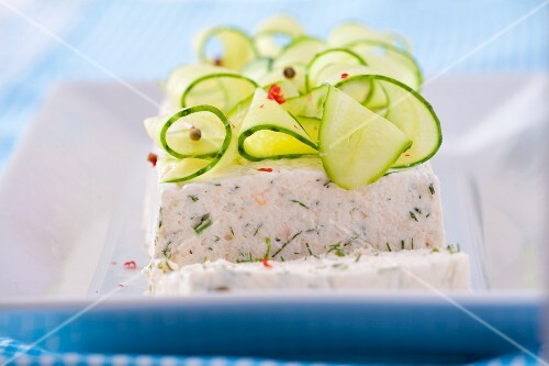 Salmon terrine with cucumber strips