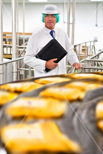 A food inspector with a laptop at a production line in a cheese factory