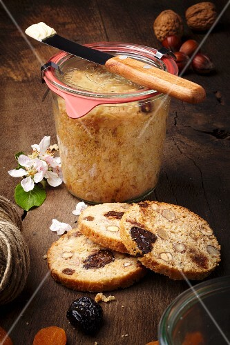 Apple bread baked in a glass