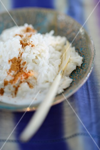 Coconut rice pudding with cinnamon