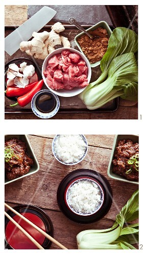 Slow-cooked Szechuan beef brisket with rice and bok choy being made (China)