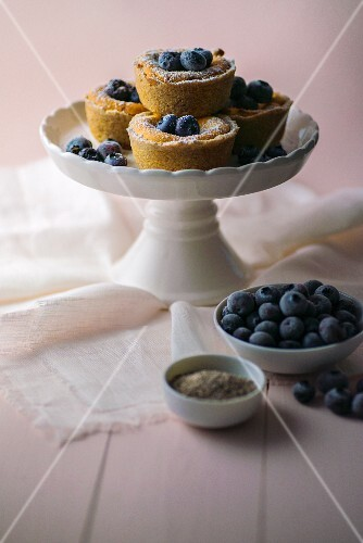 Mini cheesecakes with blueberries and chia seeds