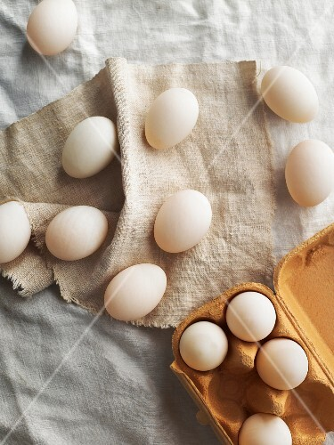 White eggs on a linen tablecloth