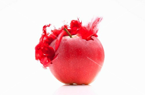 An apple with a red colour effect