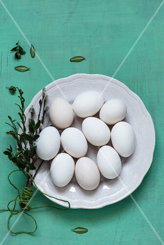 White eggs on a plate with catkins