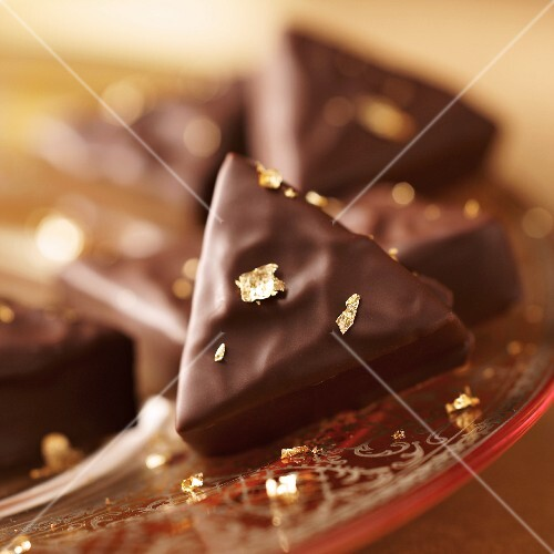 Earl Grey pralines with gold leaf